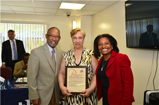 Chairman Pedro Alfonso, Bernadette Tolson, and Executive Director Adrianne Todman