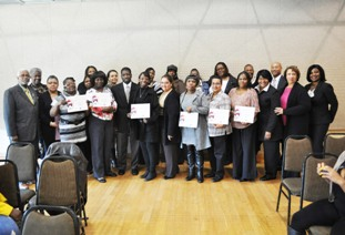 FSS Graduates with Octavia Caldwell, Commissioners Lancaster and Tolson and HCVP staff.